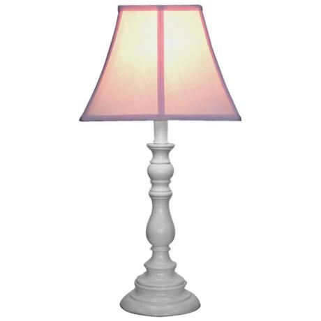 Pink Shade with White Candlestick Base Table Lamp - #U7889 | LampsPlus.com
