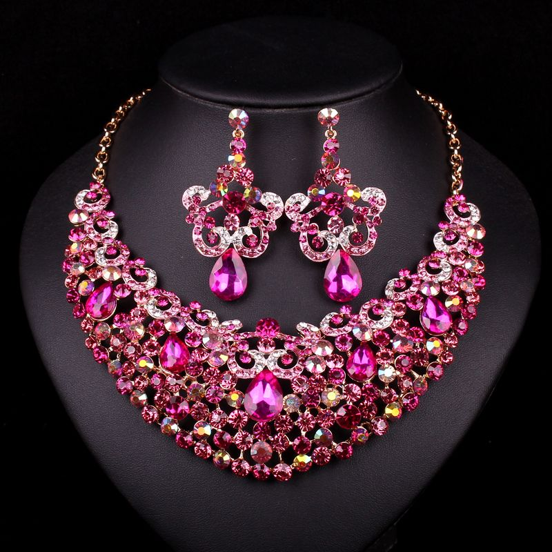 Fashion Gold Plated Pink Rhinestone Necklace Earring Bridal Jewelry Sets For Brides Wedding Party Dresses Decoration