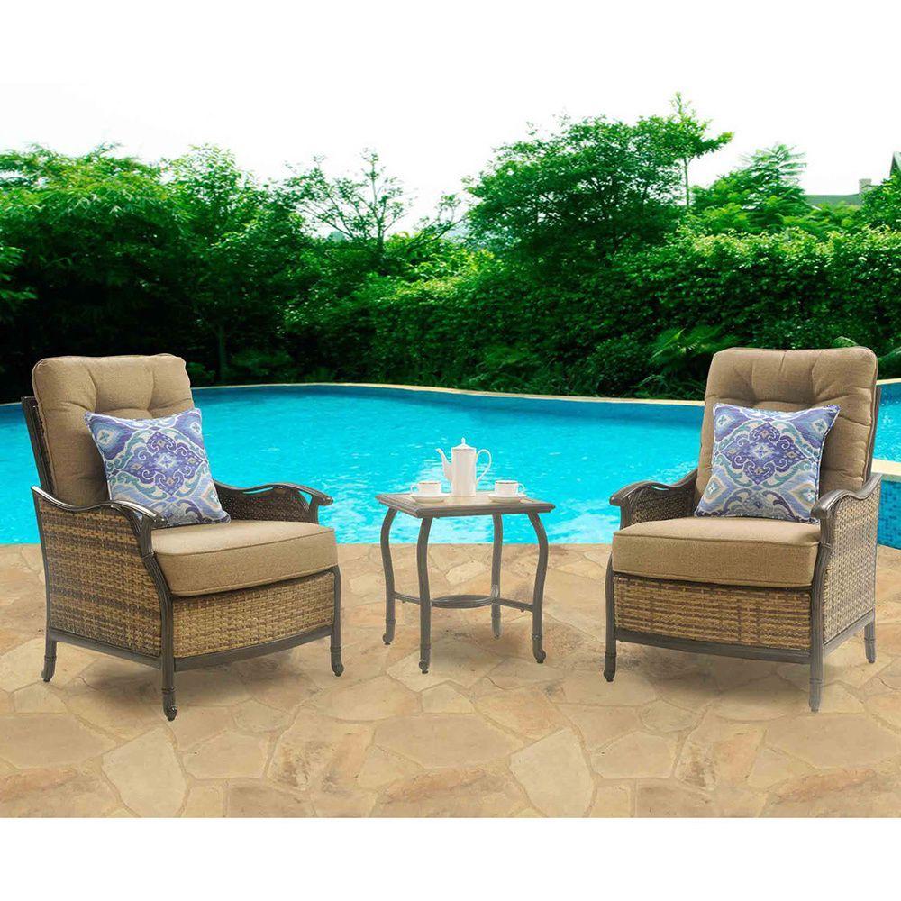 Hanover Outdoor HUDSONSQ3PC Hudson Square 3 Piece Lounge Set (Tan), Size 3