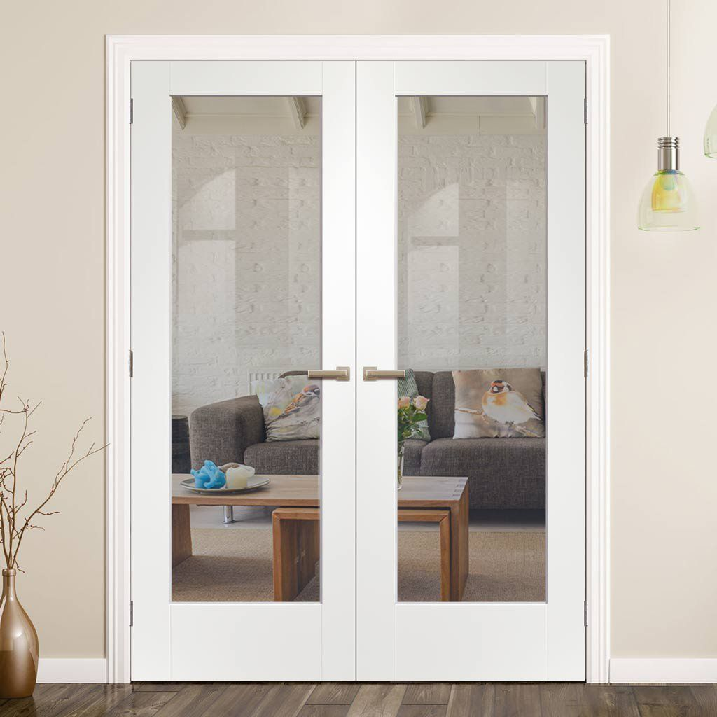 Pattern 10 Full Pane White Primed Door Pair Clear Glass French Doors French Doors Interior Glass French Doors