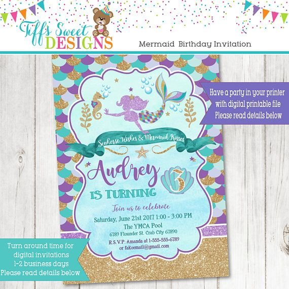 Mermaid Birthday Party Invitation Glitter Invitation Seahorse