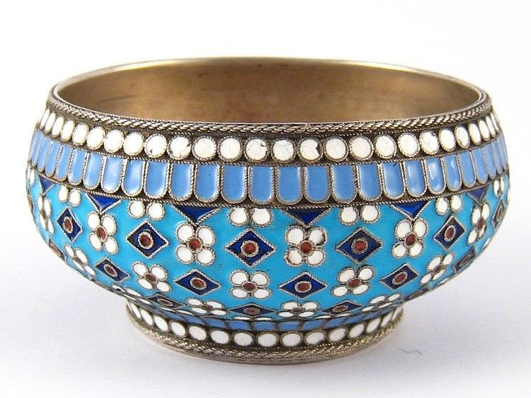 A Russian silver cloisonne enamelled open salt with twisted wire ...