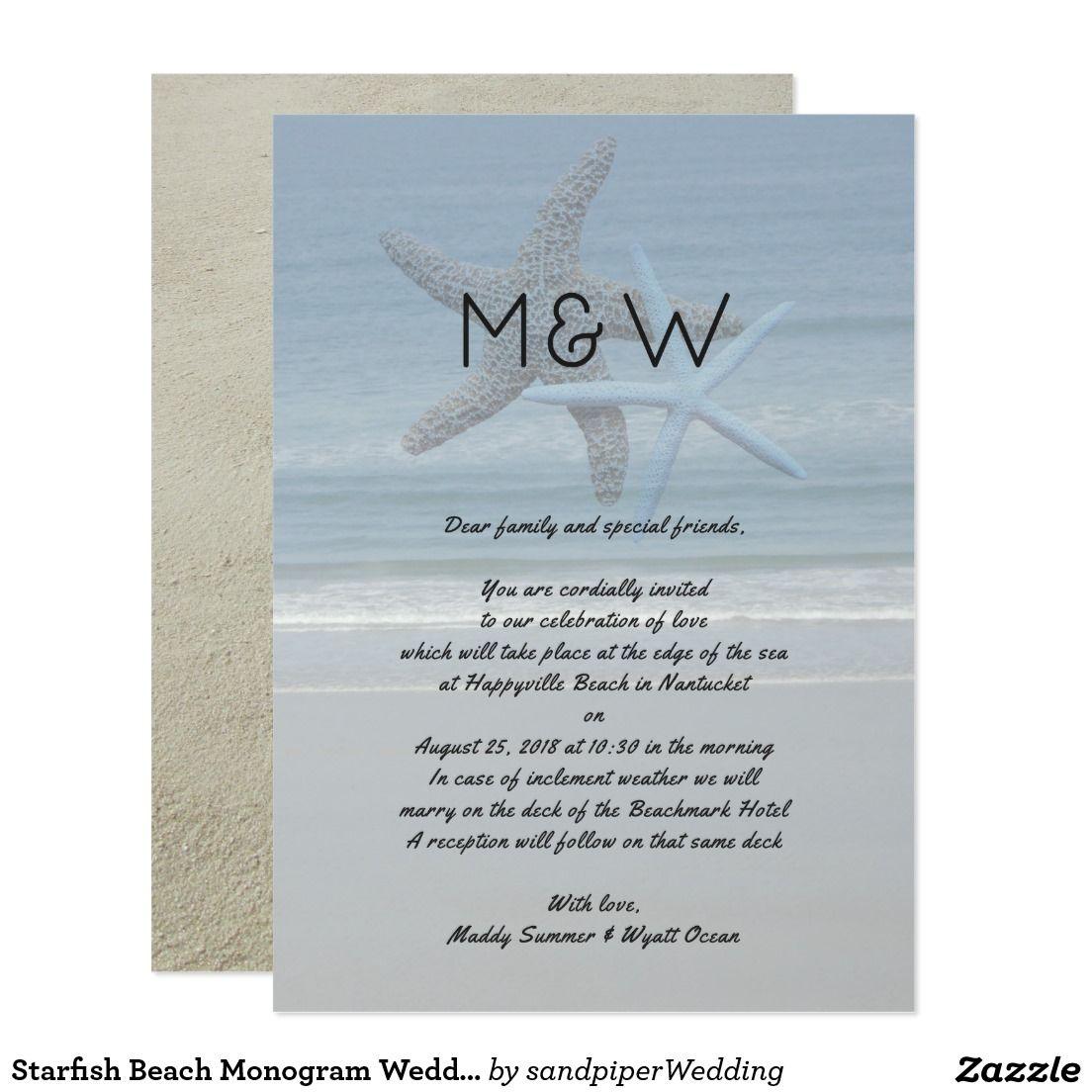 Starfish Beach Monogram Wedding Invitation Letter  Beach Sand