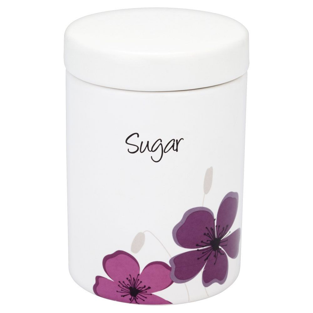Wilko Sugar Canister White With Purple Meadow Design At