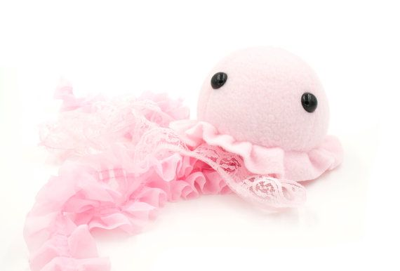 Pink Jellyfish Stuffed Animal Plush Toy Jellyfish Plushie Lace Jellyfish Pink Jellyfish Animal Plush Toys Plush Toy