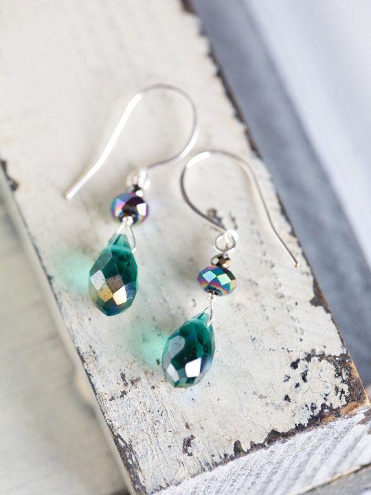 Teal Green Sparkle Wedding Earrings by beesandbuttercups on Etsy, $22.00