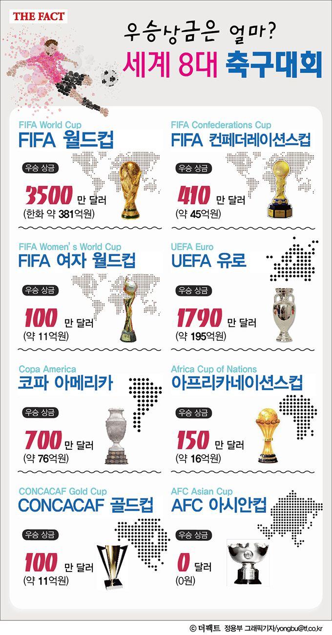 [더팩트ㅣ이현용 기자] 월드컵, 유로 등의 국제 대회는 축구 팬의 높은 관심만큼 어마어마한 상금을 내걸고 있다.