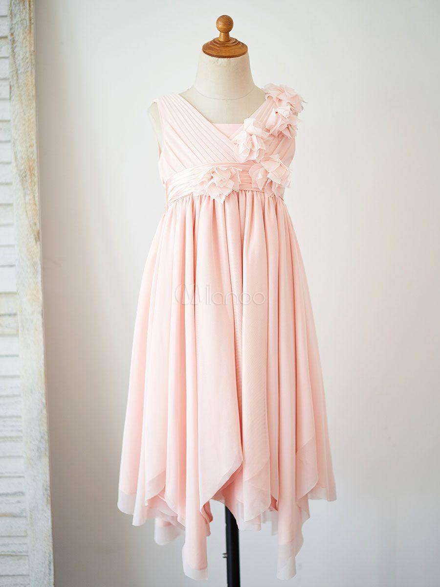 Flower Girl Dresses V-Neck Tulle Sleeveless Knee-Length Princess