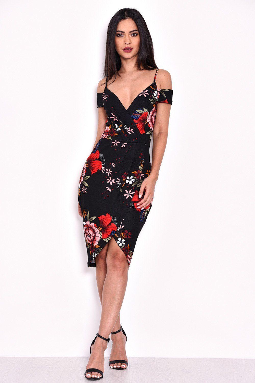 AX Paris Womens Black Cold Shoulder Floral Bodycon Midi