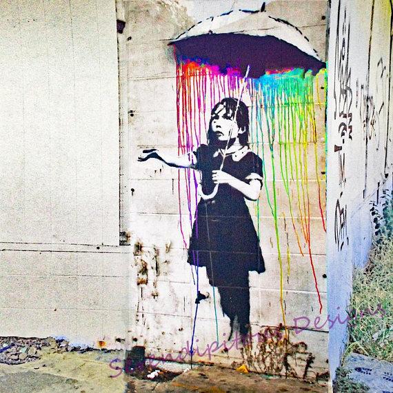 Banksy swing park girl wall street art graffiti painting poster stencil