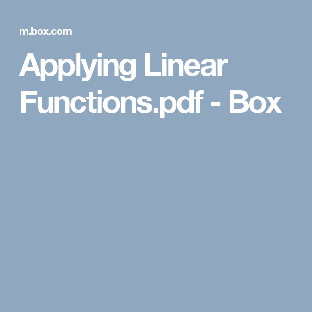Applying Linear Functions.pdf - Box   School   Pinterest