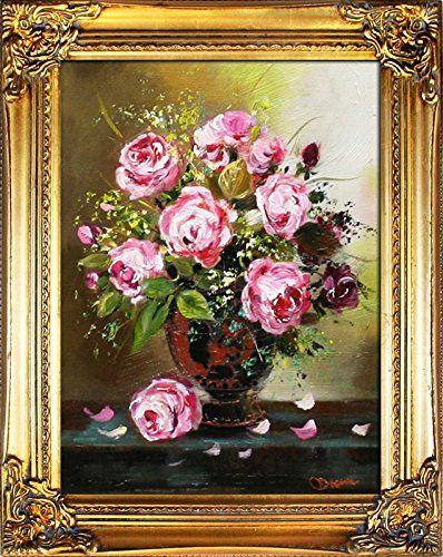 Stilleben Rosen mit Barockrahmen Gold, Ölgemälde Rosen mit Rahmen - rose aus stein deko