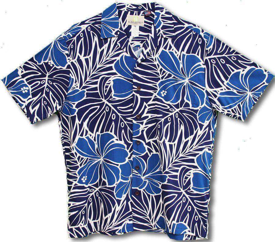fd458b61c Blue Hibiscus Monstera Men's Hawaiian Tropical Aloha RJC Kalaheo Label Shirt  created in Blue. Very