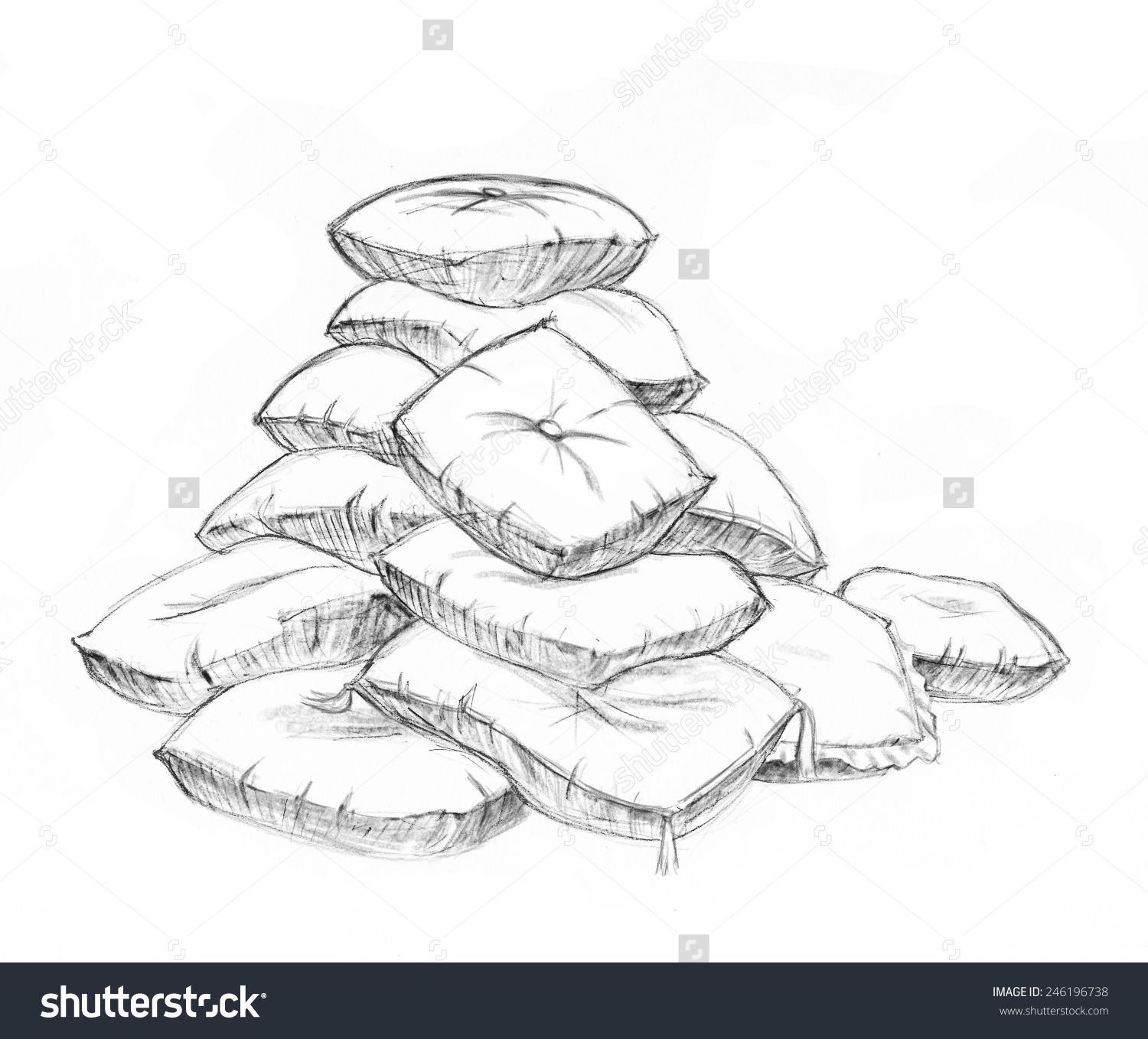result for pile of pillows drawing | Dessin