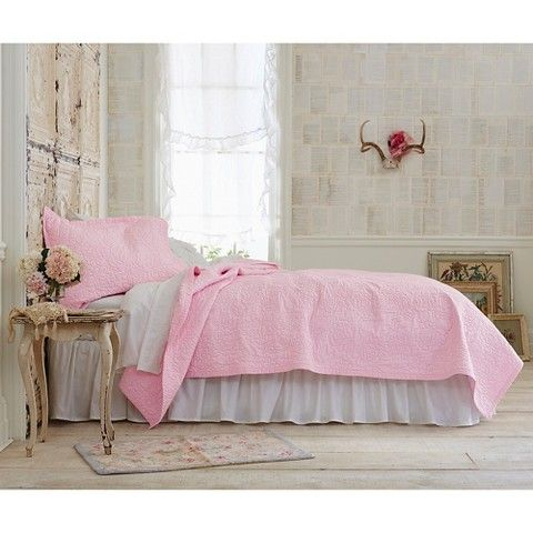 Simply Shabby Chic® Rose Stitch Quilt - Pink