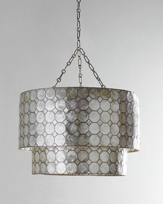 Kitchen table fixture smoked capiz two tier three light pendant at neiman marcus