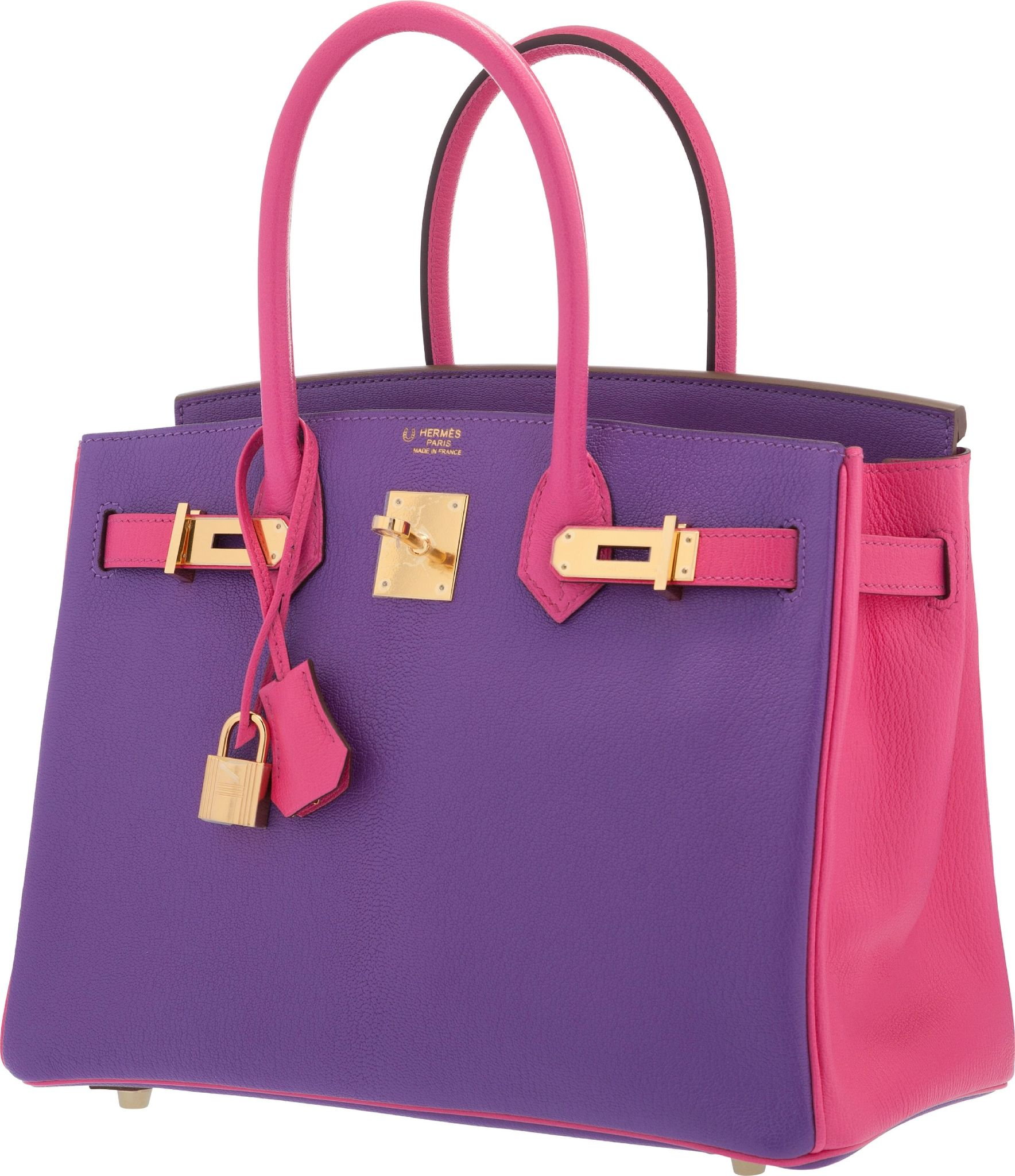6418dd7e77 Hermès Special Order Horseshoe 30cm Parme   Rose Tyrien Chevre Leather Birkin  Bag with Gold Hardware