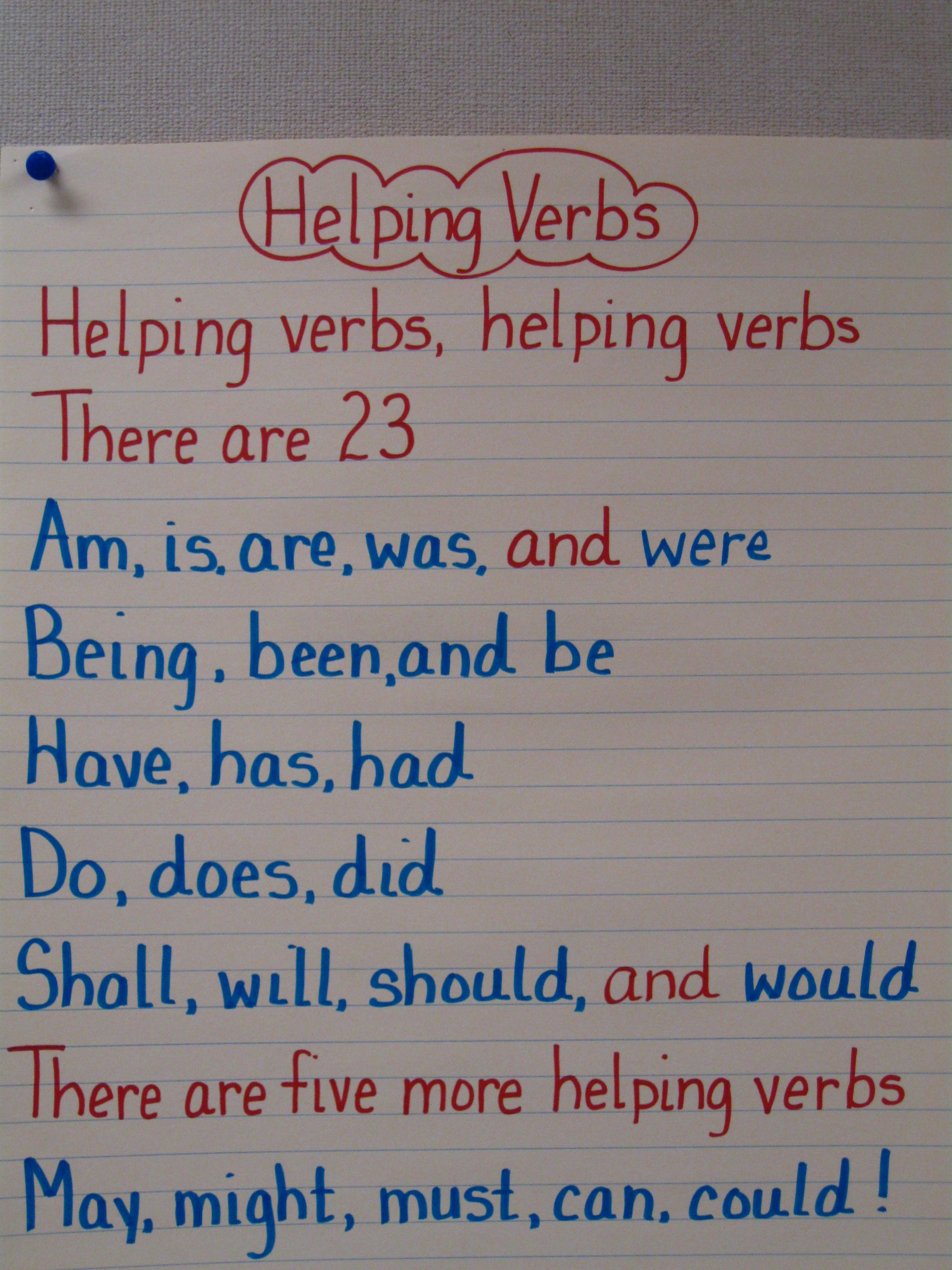 Helping Verbs To The Tune Of Jingle Bells For Grammar Lapbook