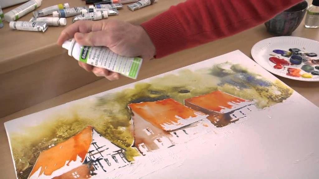Schmincke Aquarellmalerei Auf Leinwand Landschaft
