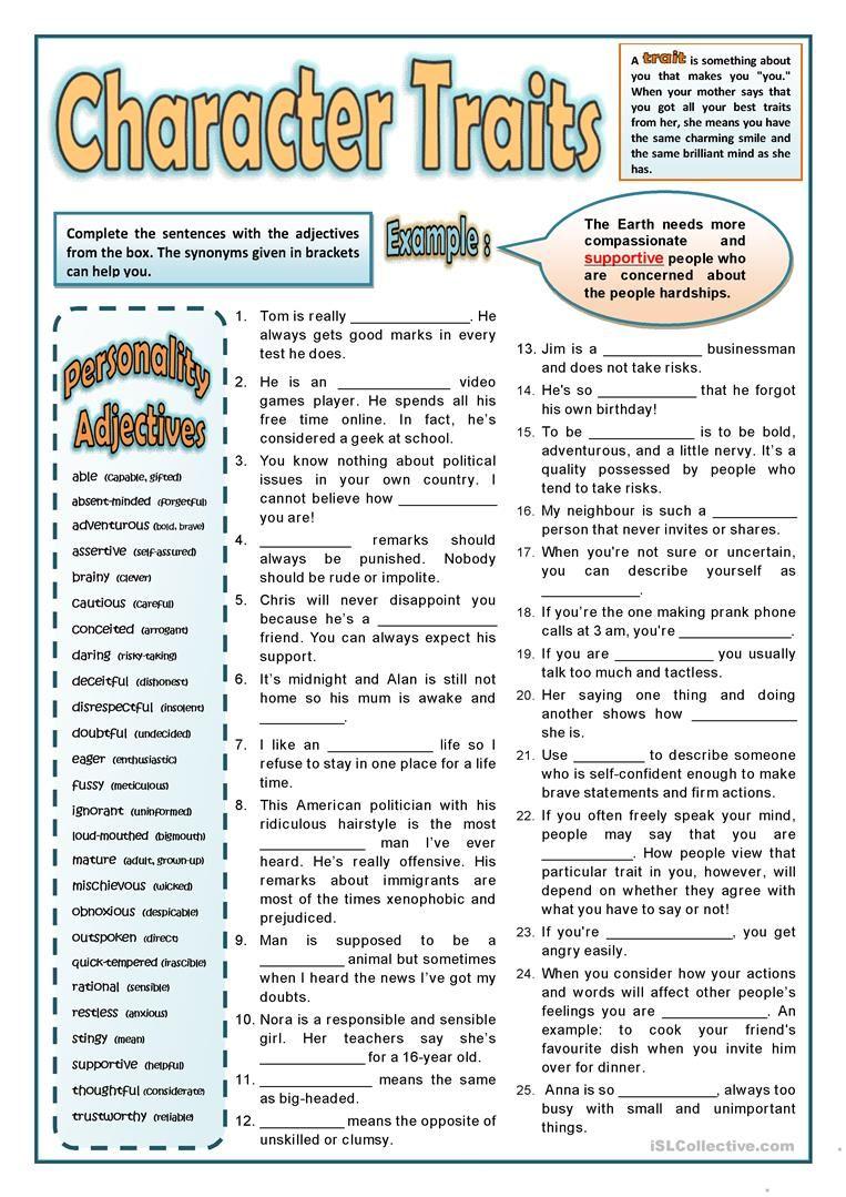 worksheet Esl Personality Worksheet personality adjectives 2 worksheet free esl printable worksheets made by teachers