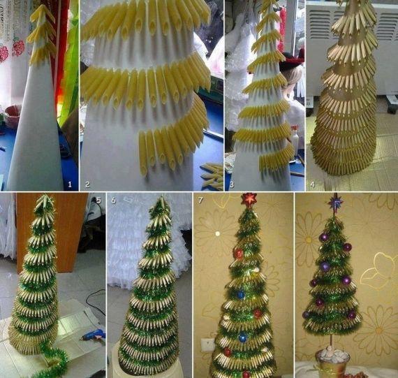 Árvore de Natal feita com macarrão penne http://vilamulher.terra.com.br/artesanato/galeria-de-ideias/arvore-de-natal-feita-com-macarrao-penne-17-1-7886462-282.html