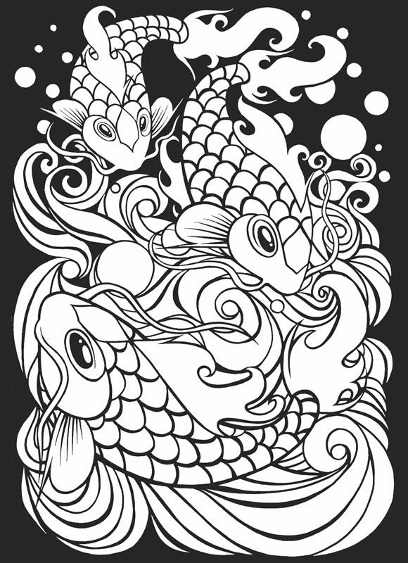 Japanese Tattoo Art Stained Glass Coloring Book from Dover ...