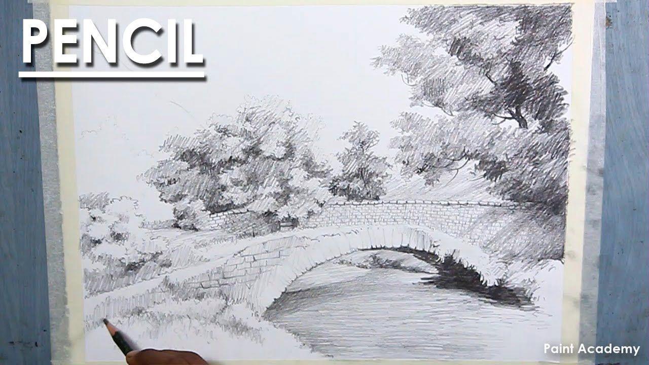 Village Bridge Pencil Drawing Landscape Pencil Drawings Drawings Landscape
