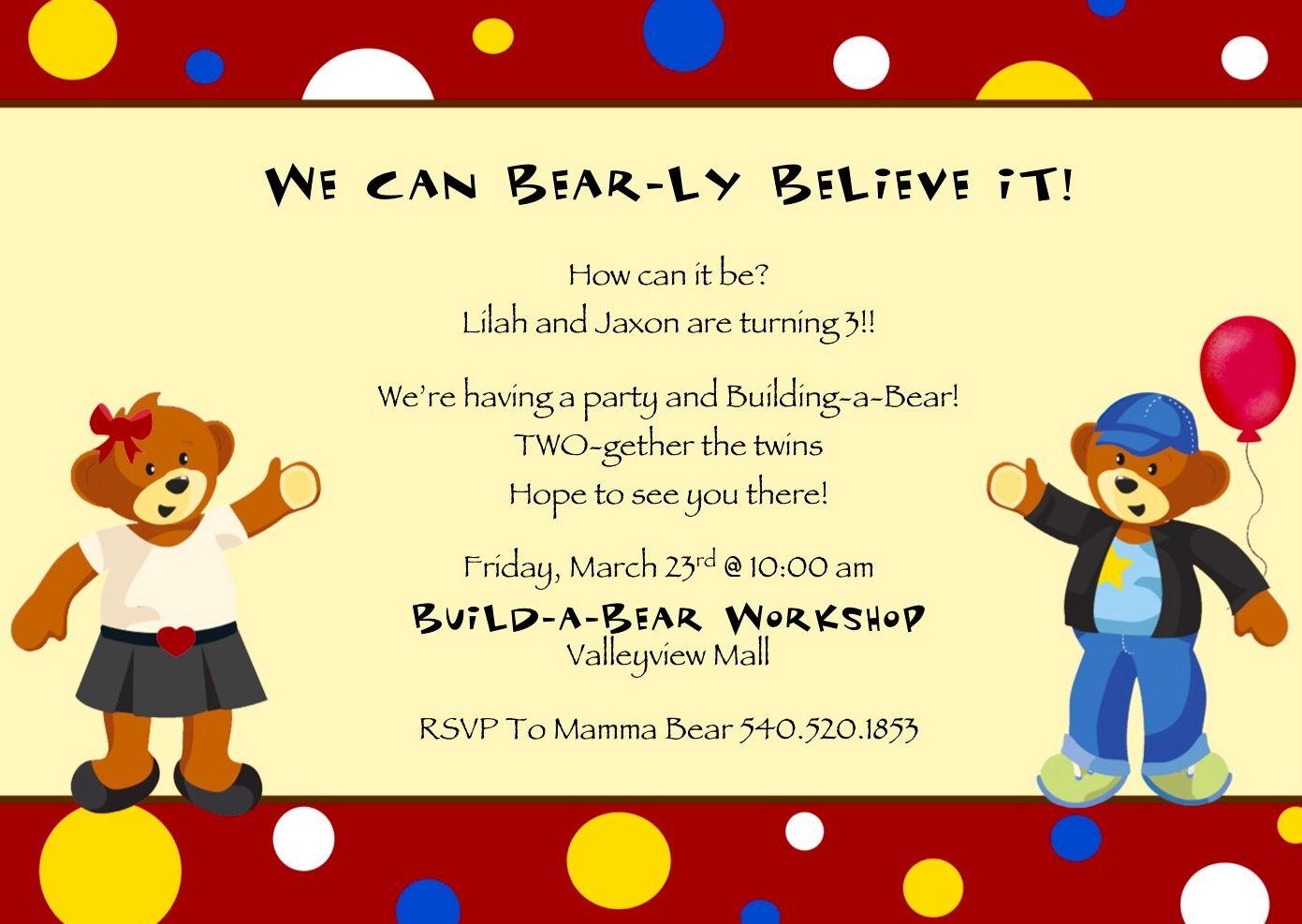 BuildABear Party Invitation BIRTHDAY Ideas – Build a Bear Birthday Invitations