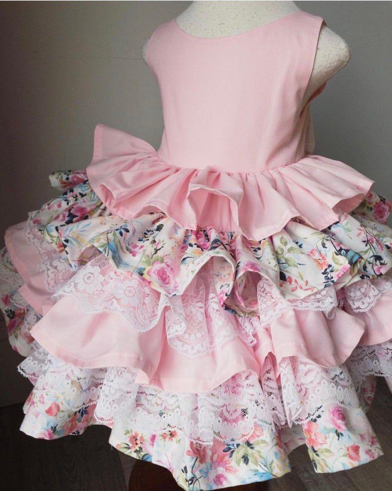 Girls Pink Ruffle Dress, Toddler Floral Party Dress, Baby Birthday Dress, Fancy Girls Dress