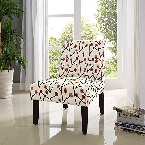 Colorful Armless Accent Chair Padded Piping Edge Livingroom Den Playful  Floral