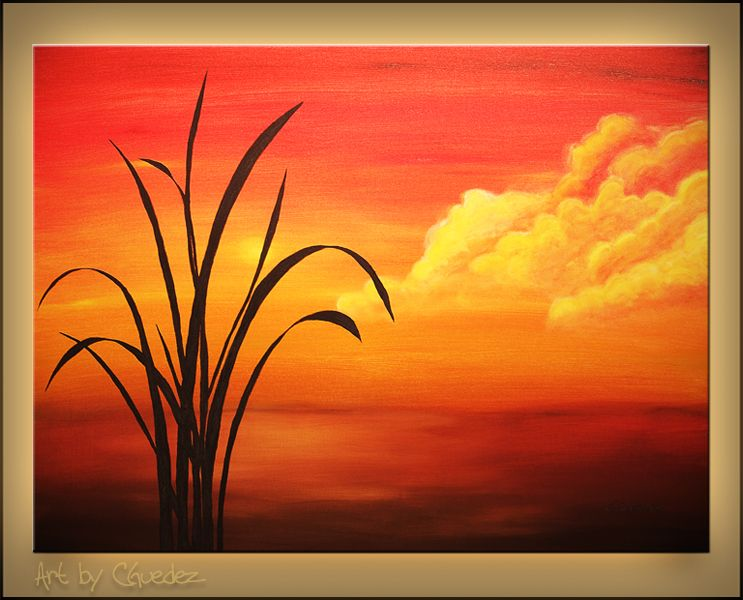 Easy acrylic painting on canvas sunset palm landscape for Simple paintings to draw