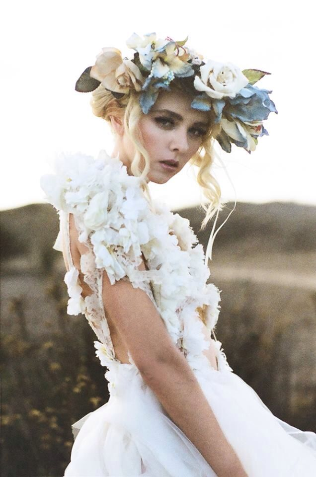 Flower crown and white dress