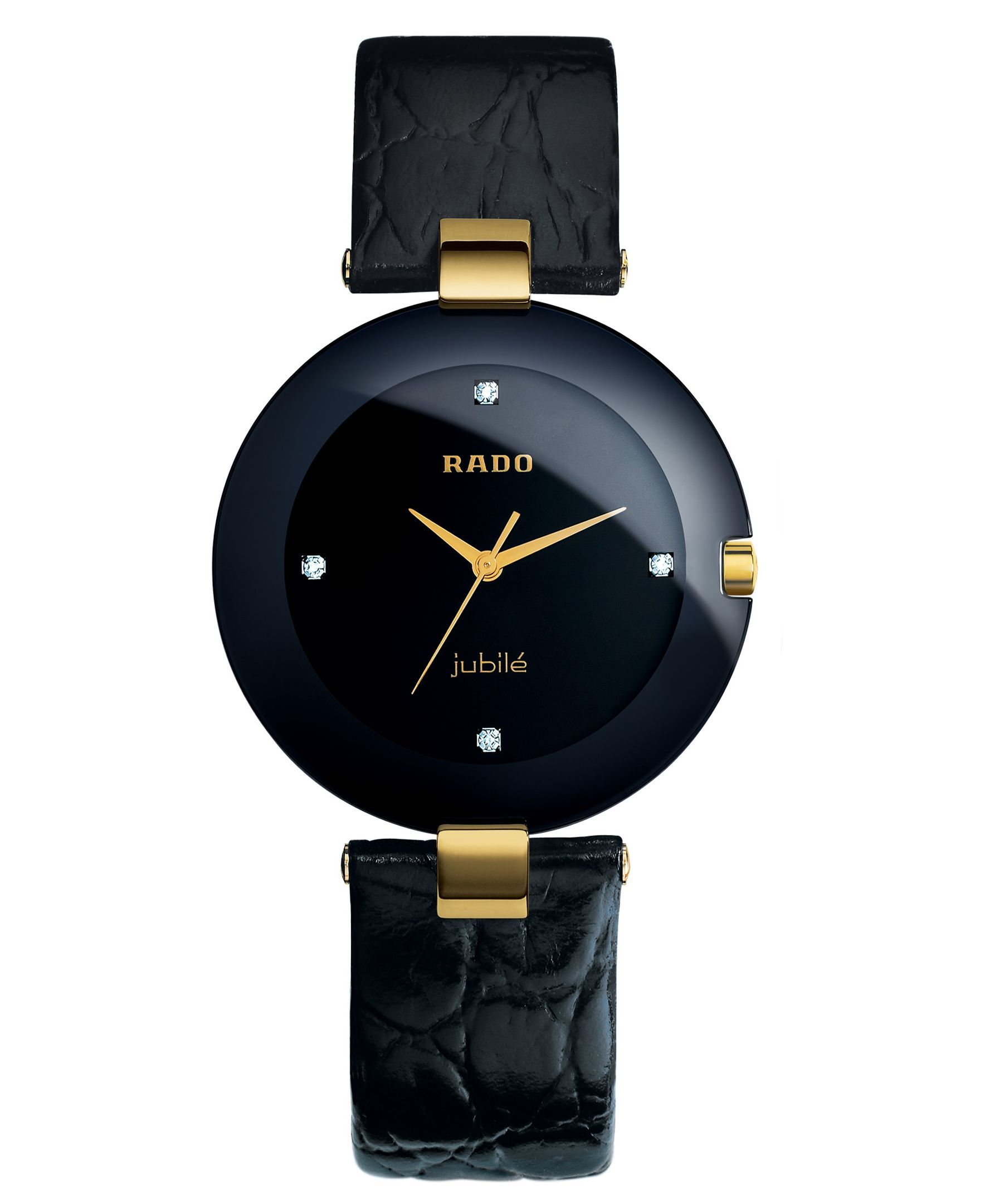 Rado Watch Women S Coupole Diamond Accent Black Leather Strap 35mm R22828715 Reviews Watches Jewelry Watches Macy S Black Leather Strap Leather Timex Watches