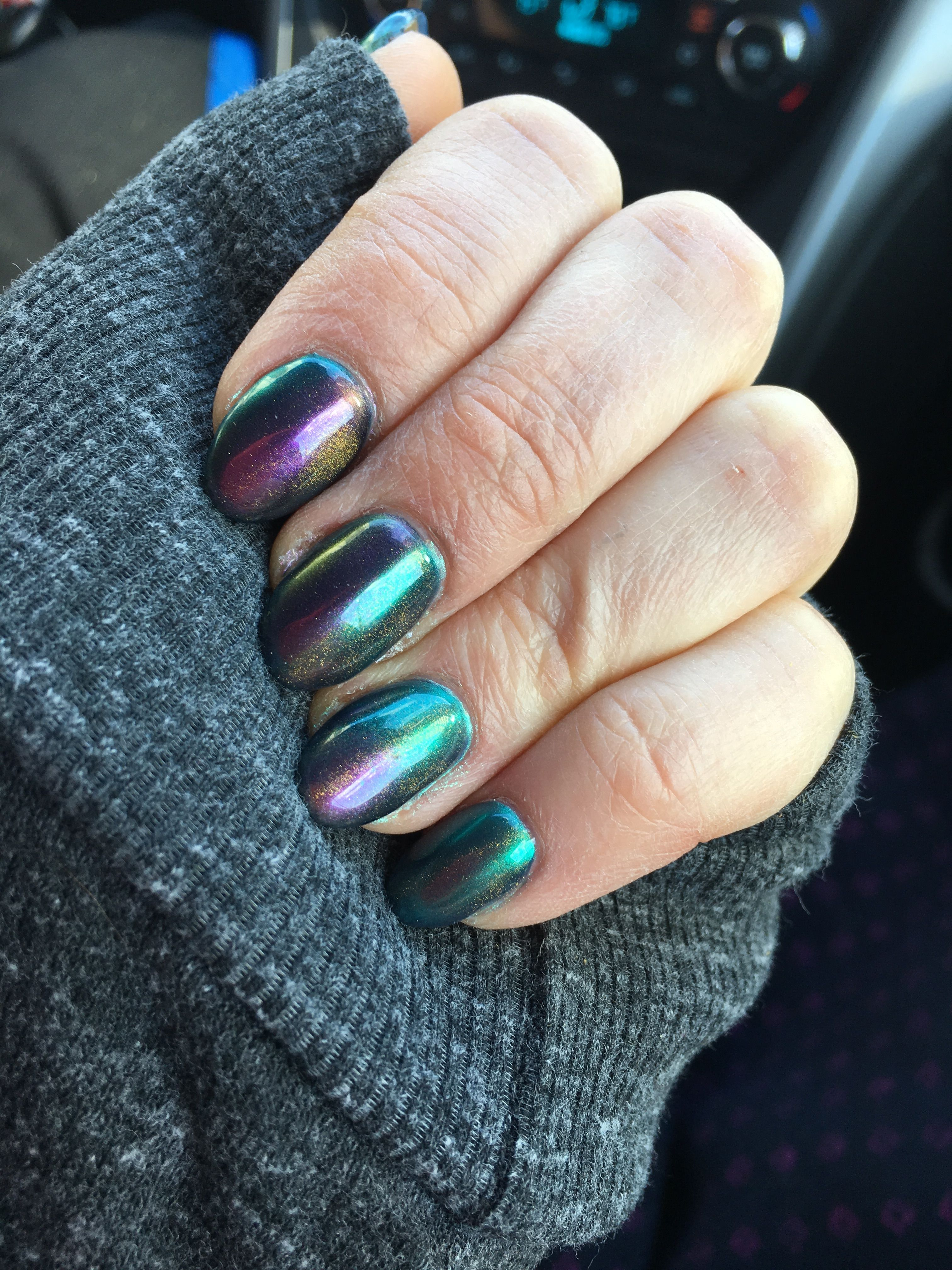 Oil spill nails. Russian Navy OPI gel topped with chrome dust and a ...