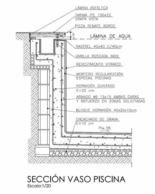 Secci n constructiva detallando todos los elementos for Swimming pool construction details