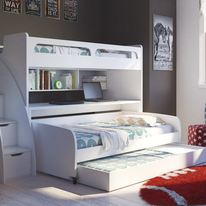 Letti A Castello Bassi.Gautreau Twin Over Twin L Shaped Bunk Bed With Trundle Nel 2020