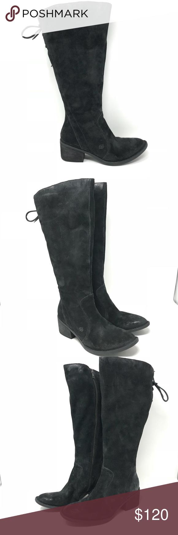 5dbc3663e74d NEW Born Felicia Wide Calf Black Distressed Boots Born Felicia Size 8.5 M  Wide Calf Black