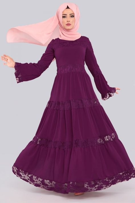 Elbise Dantelli Tesettur Elbise Knz3152 Mor Pakaian Wanita Gaun Panjang Wanita