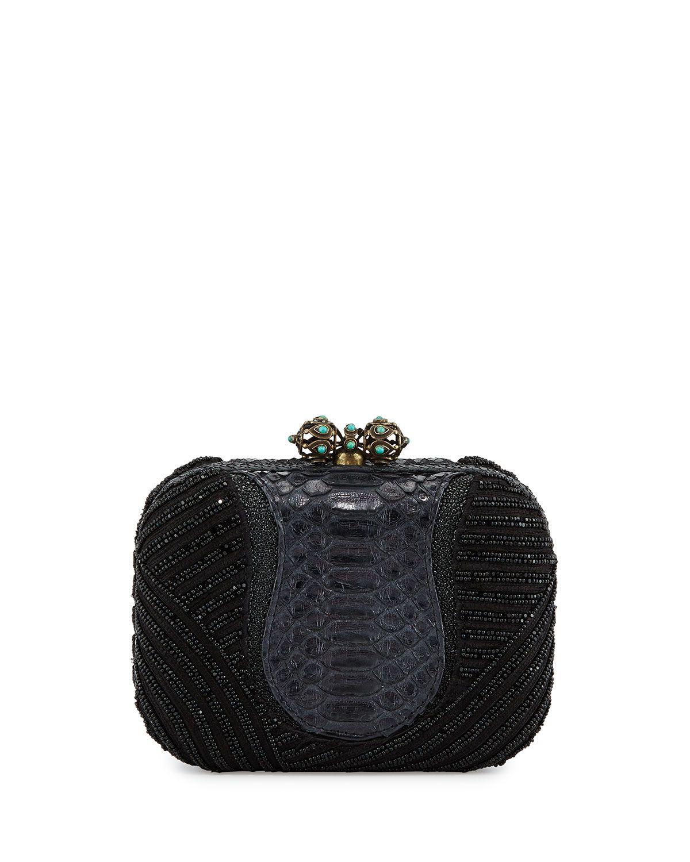 Khirma Batasha Beaded Python Clutch Bag, Black