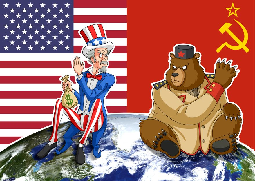 Image result for caricature u.s. and russia at war