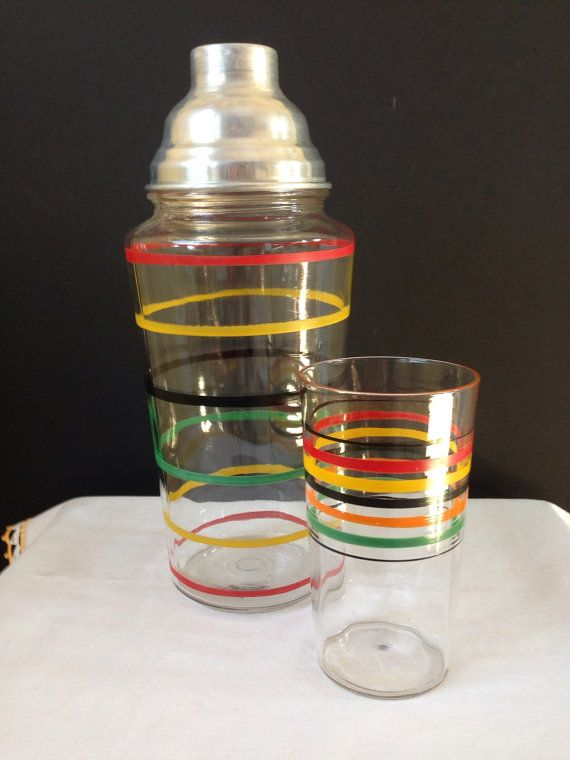 cocktail shaker tumbler multicolored rings stripes ribbed tumbler depression glass bar. Black Bedroom Furniture Sets. Home Design Ideas