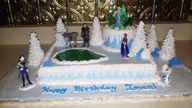 Frozen Themed Birthday Cake Half Sheet And 5 On Top All Whipped