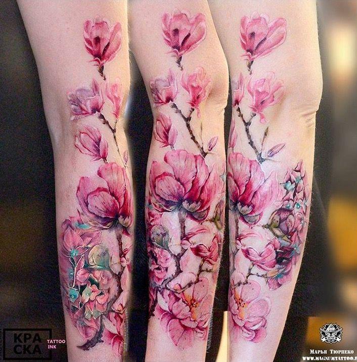 Marya Tyurpeko Watercolor Flower Tattoo Watercolor Tattoo Flower