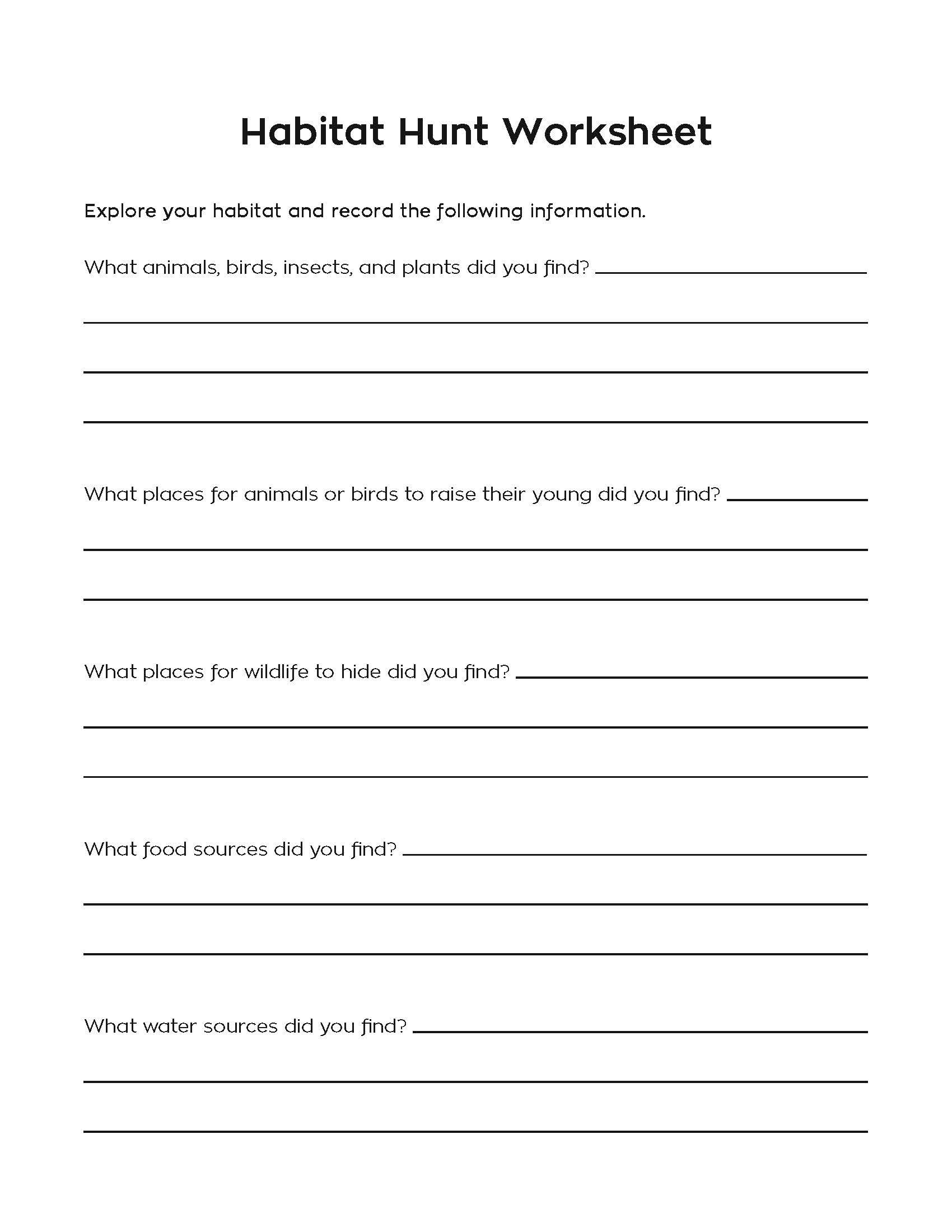 Meeting 12 Use This Worksheet For Your Habitat Hunt