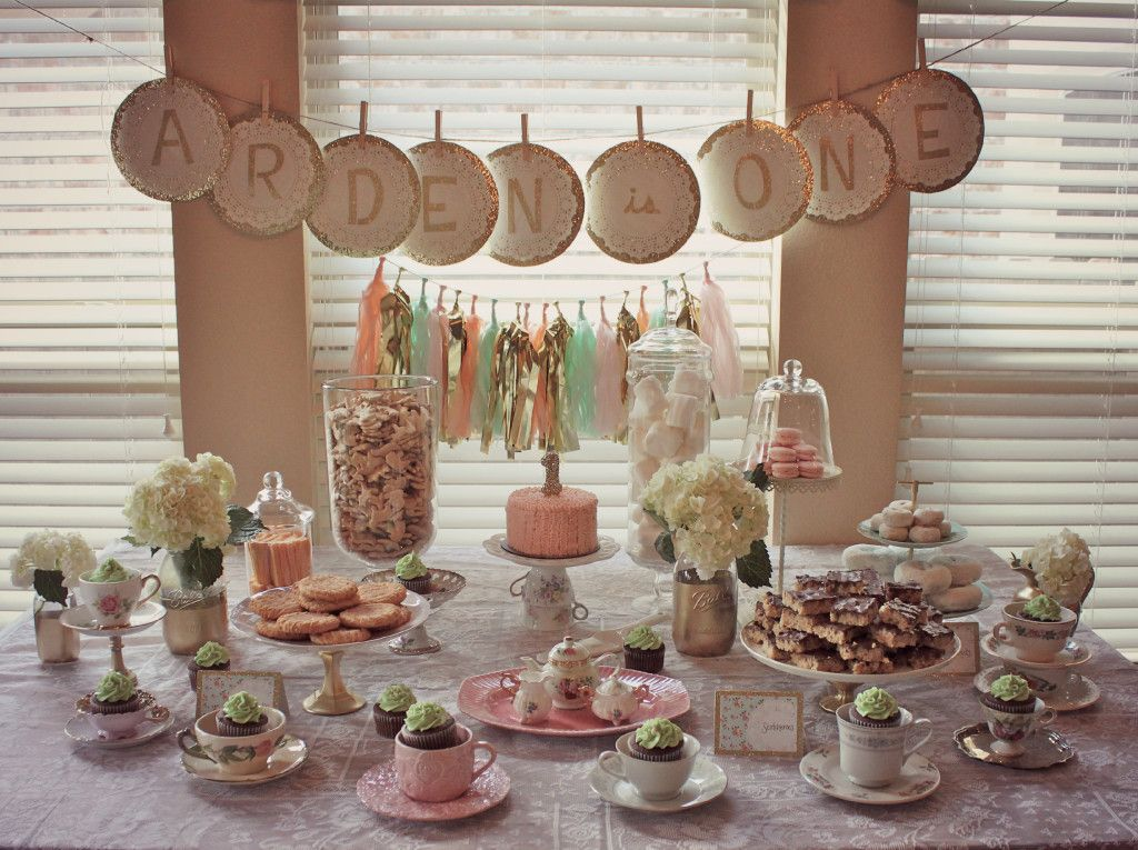 Project Nursery Tea Party 1st Birthday Sweets Table