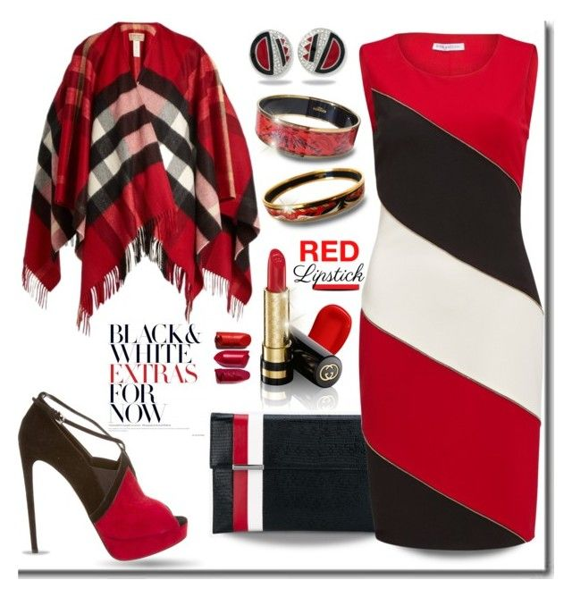 """Red Lips Sink Ships."" by tjclay3 ❤ liked on Polyvore featuring Hermès, Kenneth Jay Lane, Lipstick Queen, Tomasini, Gina Bacconi, Gucci, Alaïa and Burberry"