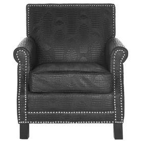 Safavieh Mercer Black Croc Bicast Leather Accent Chair Mcr4572f