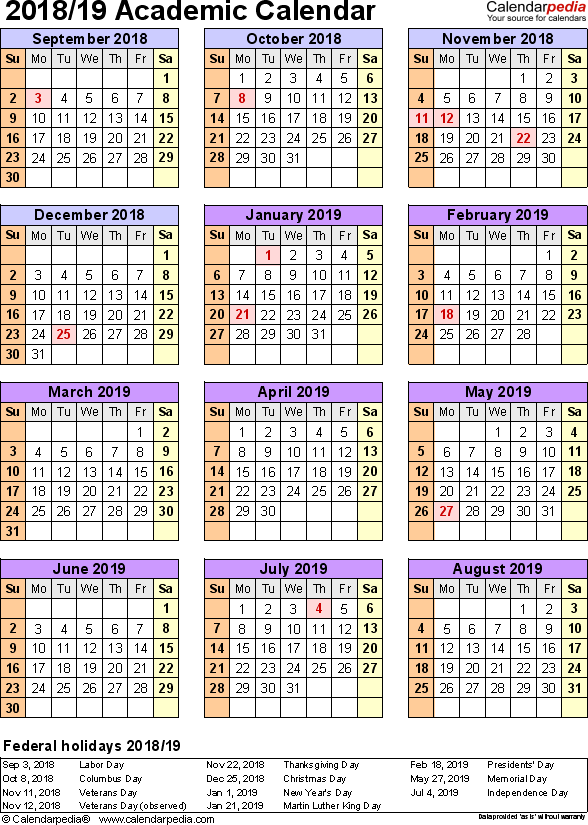 2018 19 School Calendar Template Excel Excel Calendar Template Academic Calendar Calendar Template