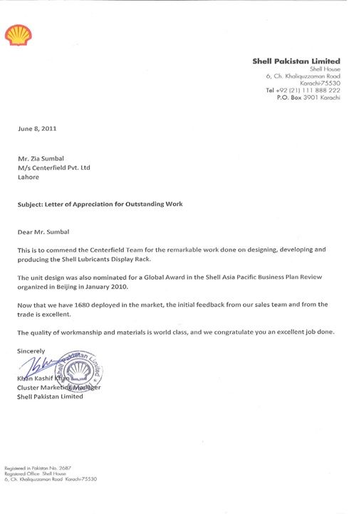 Land Mark Appreciation Letter From Shell Shell Pakistan Recognize