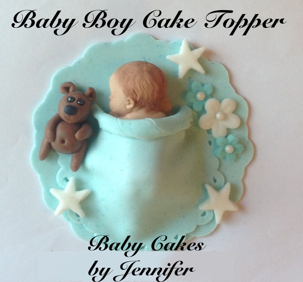 Creative Converting 1st Birthday Boy Cake Topper Blue: EDIBLE BABBY SHOWER Cake Topper Baby Boy Fondant Teddy